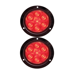 "FLEET Count™ 4"" Round Sealed LED Stop/Turn/Tail Light Flange Mount Pair"