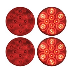 "4"" Round Sealed LED Stop/Turn/Tail Light (10 diodes) Pair"