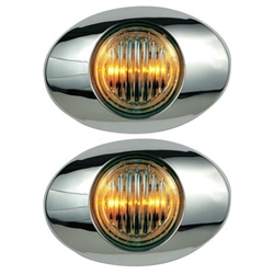 "Clear Lens Millennium Series 3"" Sealed LED Marker/Clearance Light Yellow Pair"